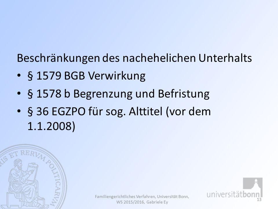 Beschränkungen des nachehelichen Unterhalts § 1579 BGB Verwirkung