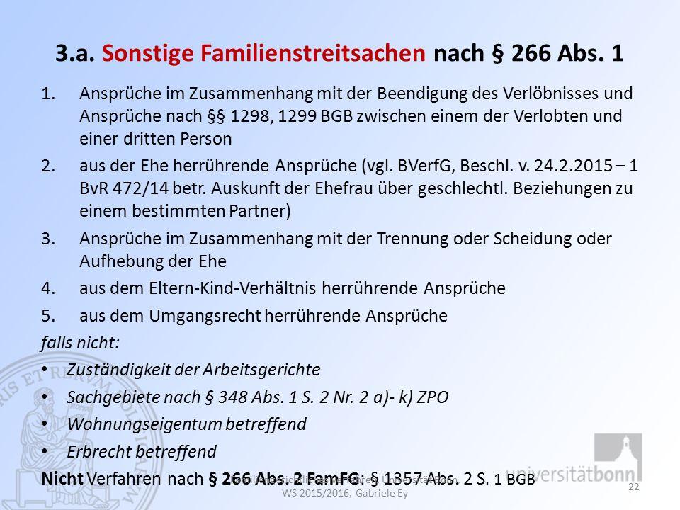 3.a. Sonstige Familienstreitsachen nach § 266 Abs. 1