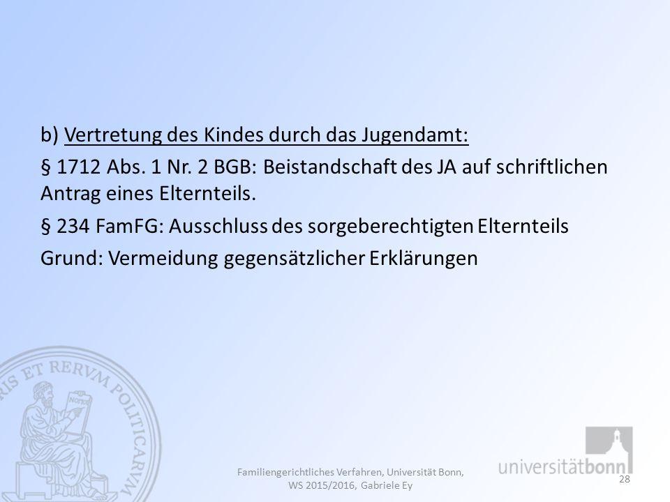 b) Vertretung des Kindes durch das Jugendamt: § 1712 Abs. 1 Nr