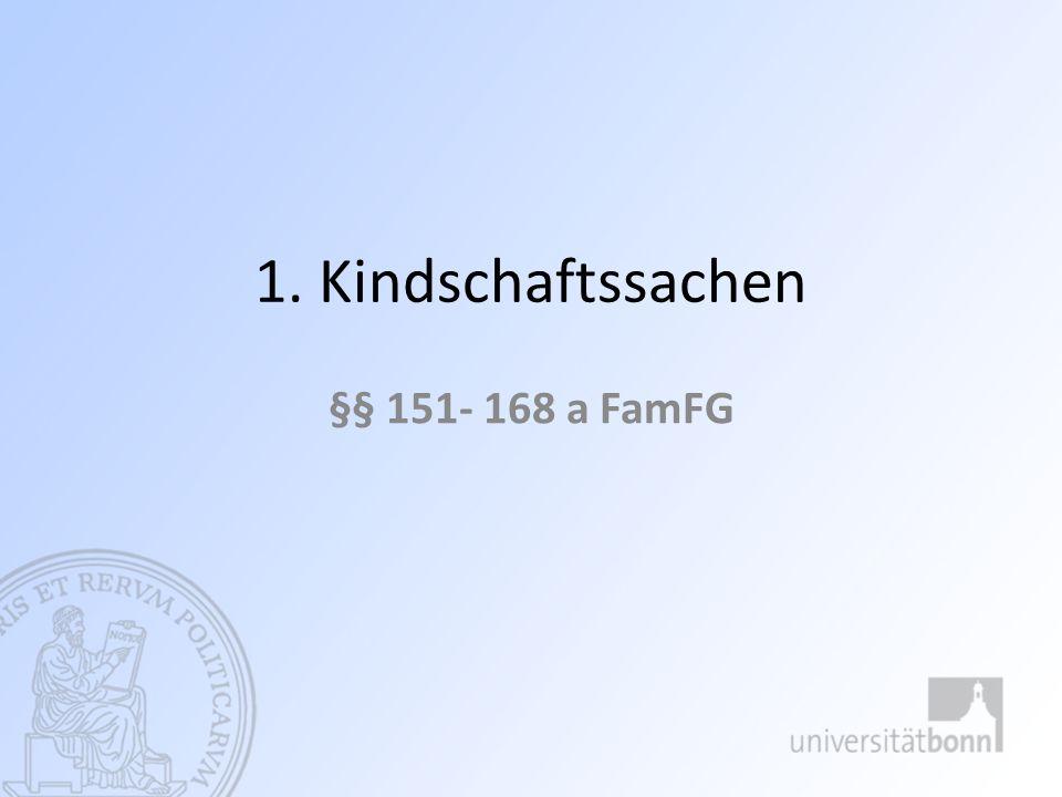 1. Kindschaftssachen §§ 151- 168 a FamFG