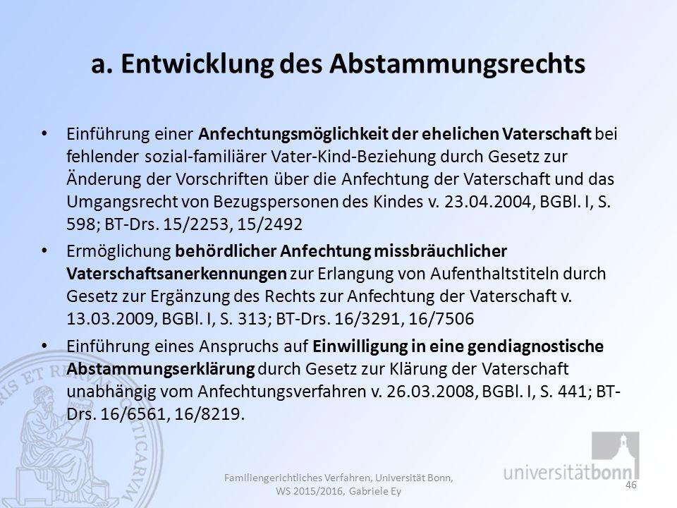 a. Entwicklung des Abstammungsrechts