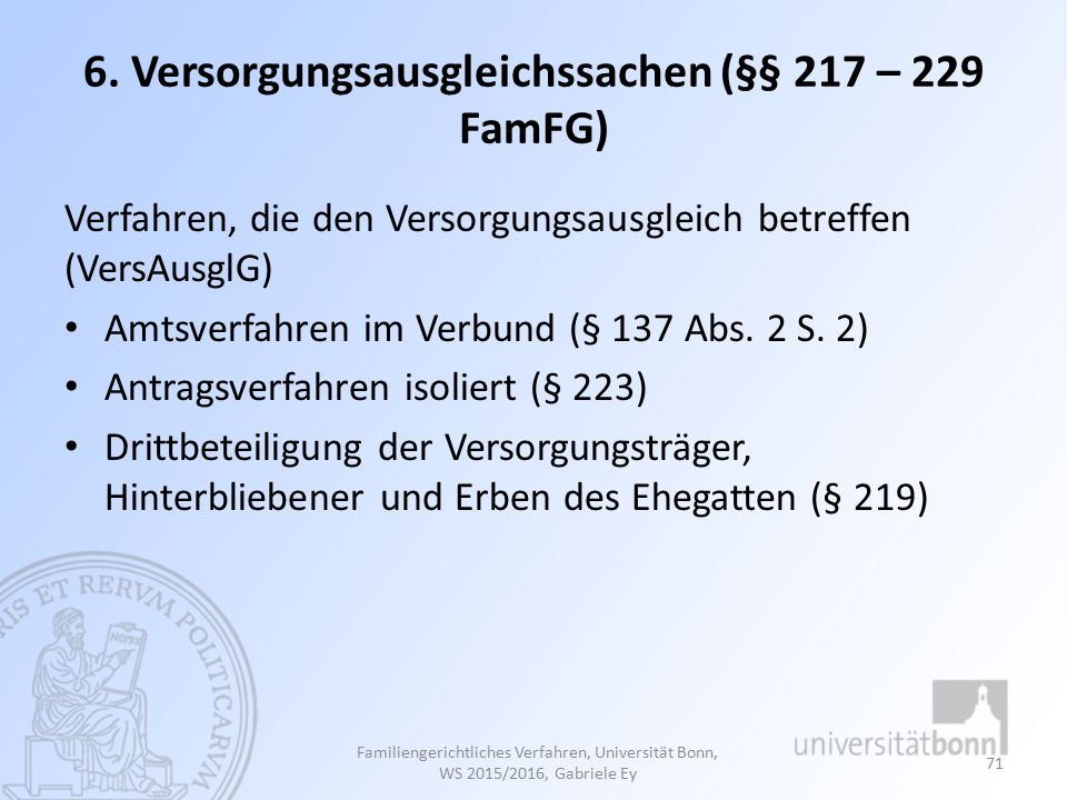 6. Versorgungsausgleichssachen (§§ 217 – 229 FamFG)
