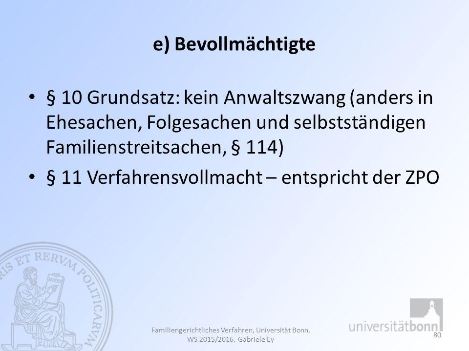 § 11 Verfahrensvollmacht – entspricht der ZPO