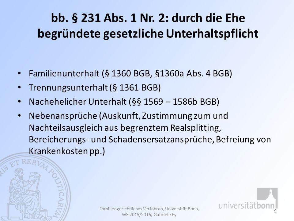 bb. § 231 Abs. 1 Nr. 2: durch die Ehe begründete gesetzliche Unterhaltspflicht