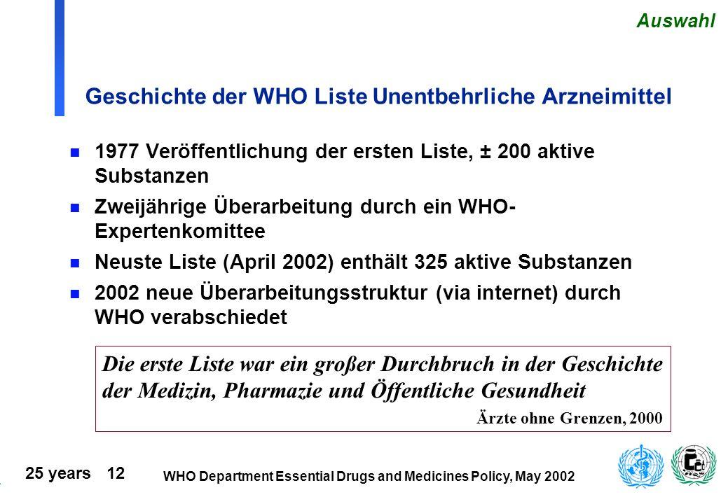 Geschichte der WHO Liste Unentbehrliche Arzneimittel