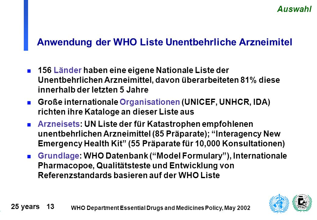 Anwendung der WHO Liste Unentbehrliche Arzneimitel