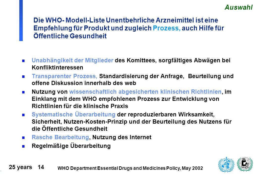Auswahl Die WHO- Modell-Liste Unentbehrliche Arzneimittel ist eine Empfehlung für Produkt und zugleich Prozess, auch Hilfe für Öffentliche Gesundheit.