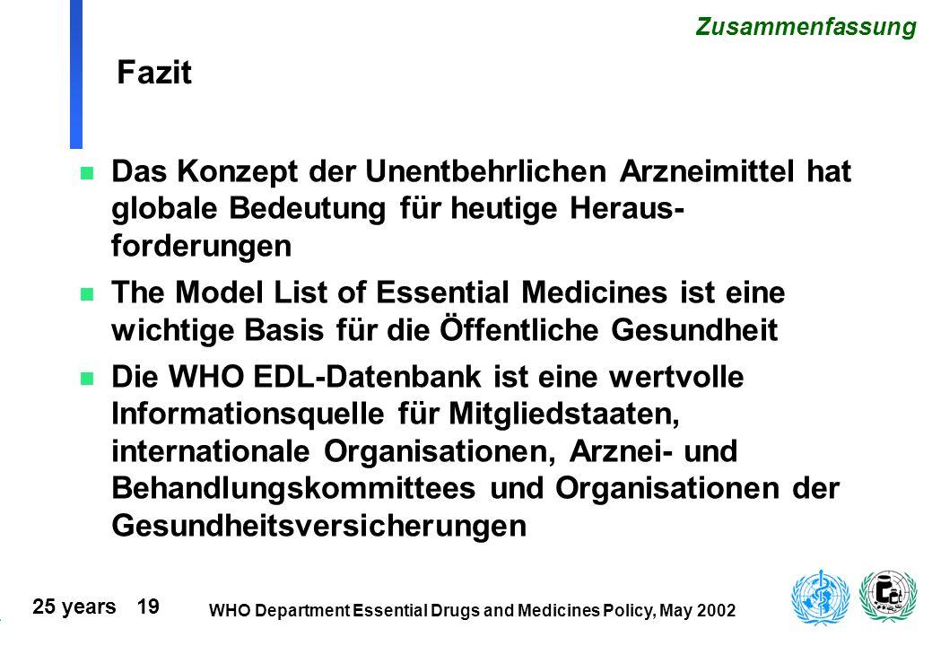 Fazit Zusammenfassung. Das Konzept der Unentbehrlichen Arzneimittel hat globale Bedeutung für heutige Heraus-forderungen.