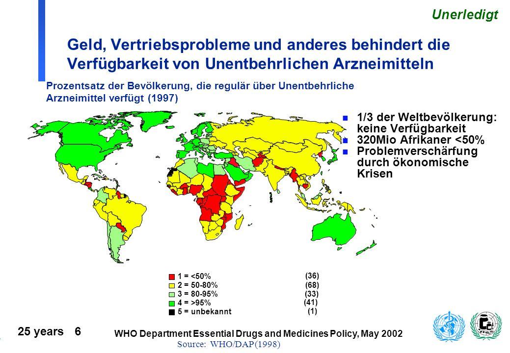 Unerledigt Geld, Vertriebsprobleme und anderes behindert die Verfügbarkeit von Unentbehrlichen Arzneimitteln.