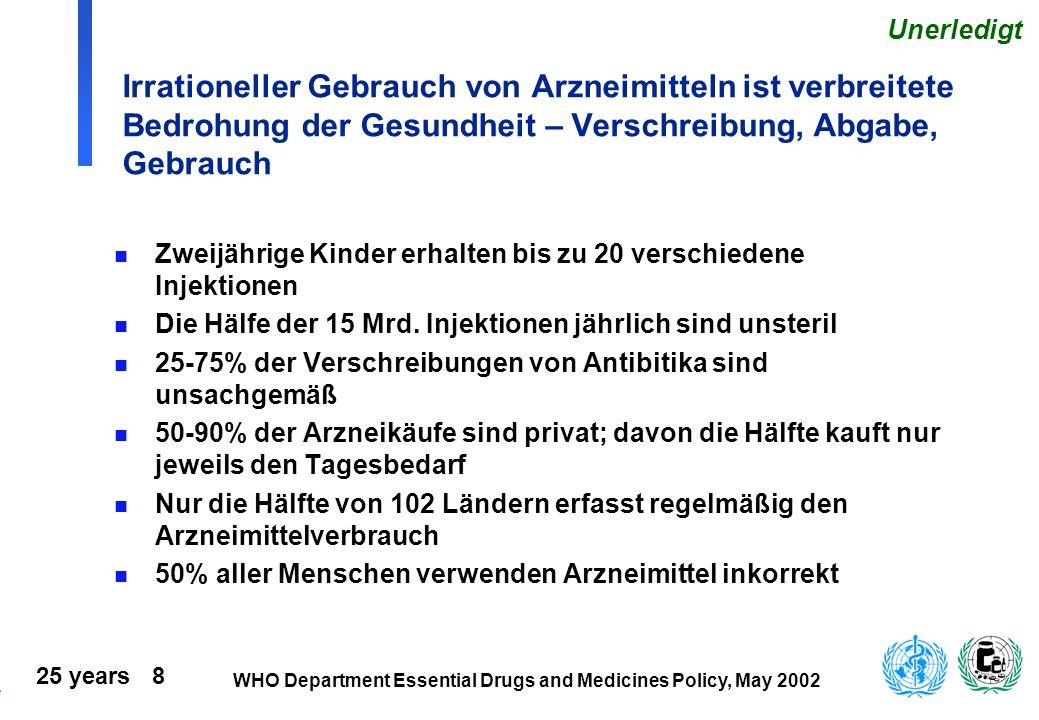 Unerledigt Irrationeller Gebrauch von Arzneimitteln ist verbreitete Bedrohung der Gesundheit – Verschreibung, Abgabe, Gebrauch.