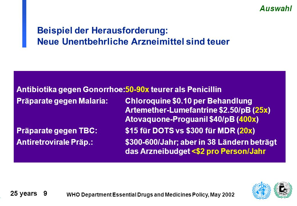Auswahl Beispiel der Herausforderung: Neue Unentbehrliche Arzneimittel sind teuer. Antibiotika gegen Gonorrhoe: 50-90x teurer als Penicillin.