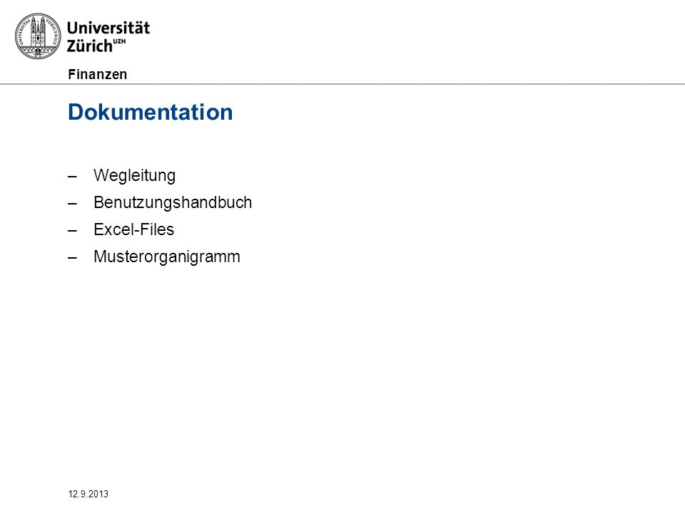 Dokumentation Wegleitung Benutzungshandbuch Excel-Files