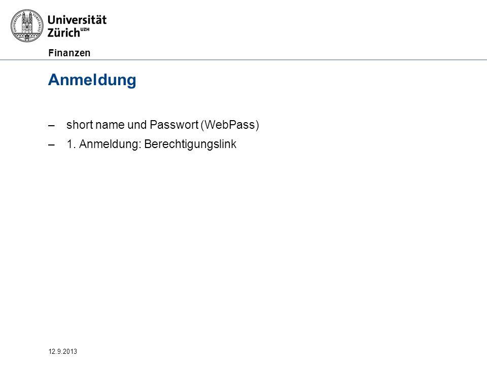 Anmeldung short name und Passwort (WebPass)