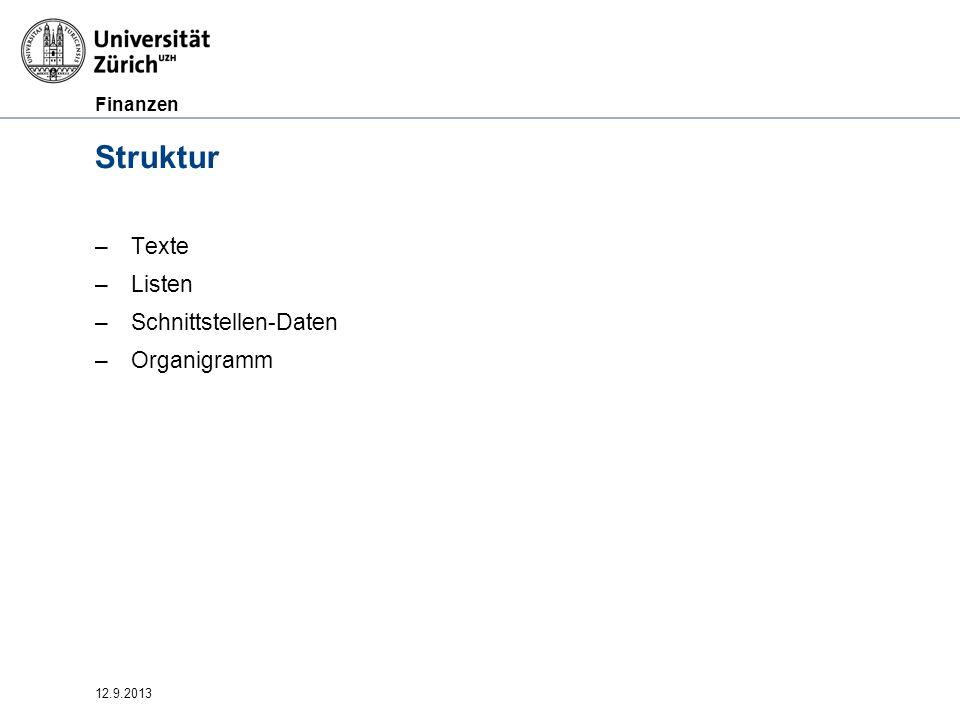 Struktur Texte Listen Schnittstellen-Daten Organigramm 12.9.2013