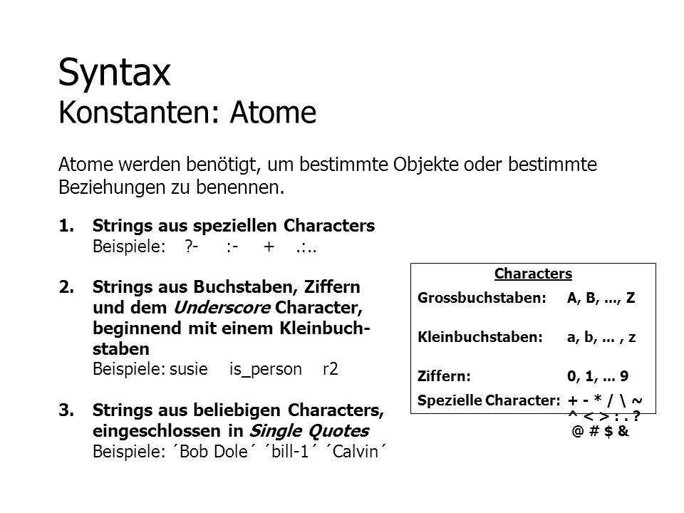 Syntax Konstanten: Atome