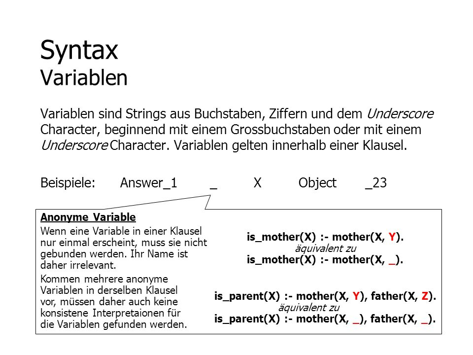 Syntax Variablen
