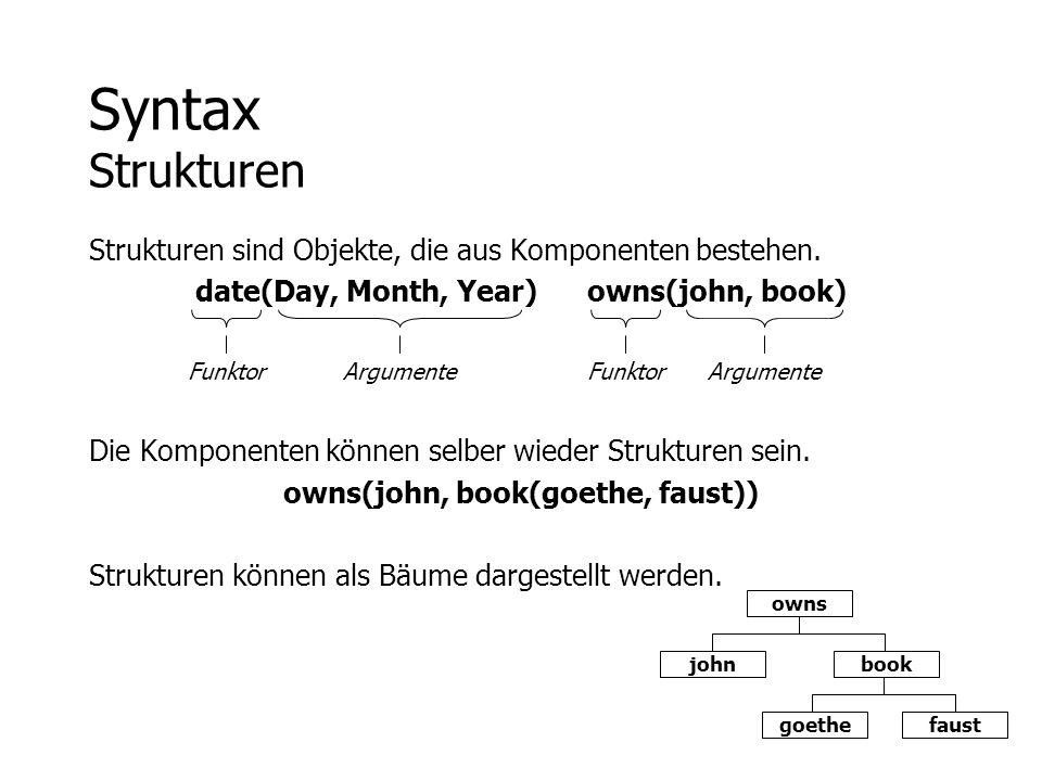 Syntax Strukturen Strukturen sind Objekte, die aus Komponenten bestehen. date(Day, Month, Year) owns(john, book)