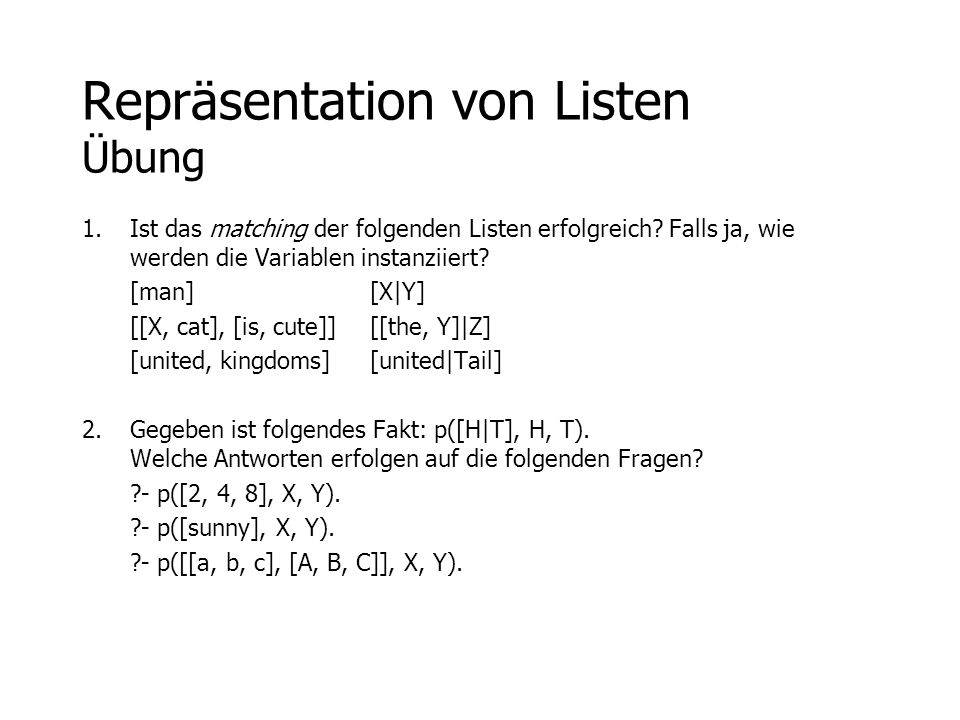 Repräsentation von Listen Übung