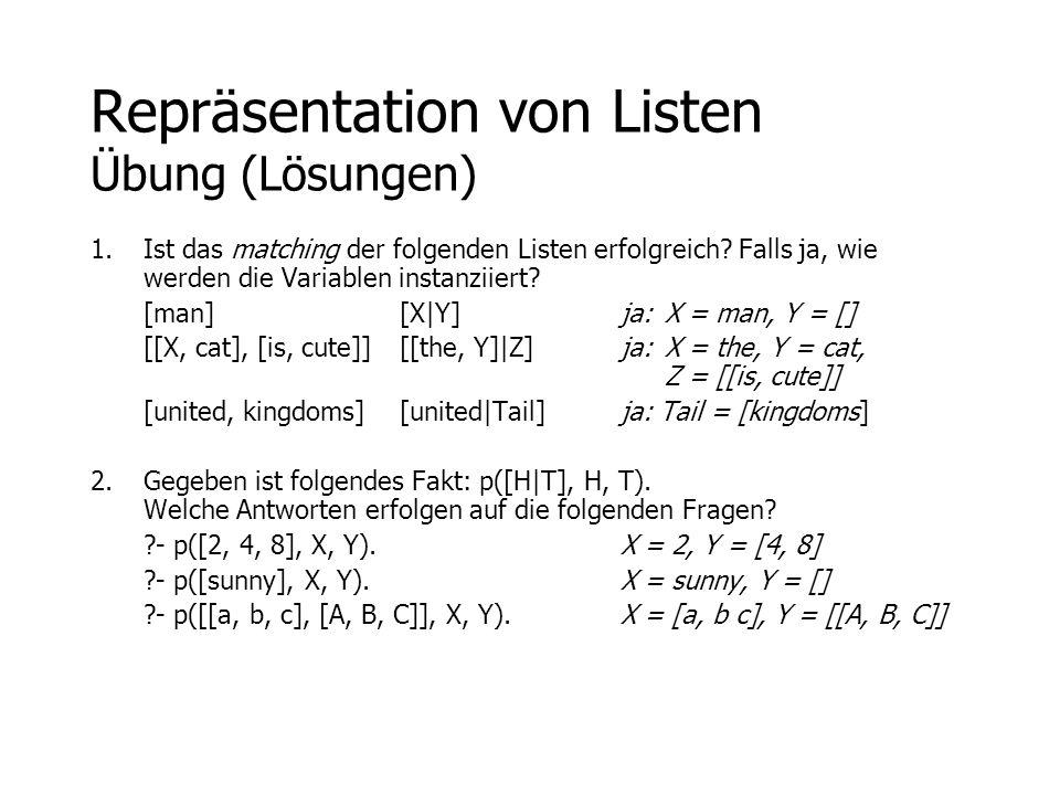 Repräsentation von Listen Übung (Lösungen)