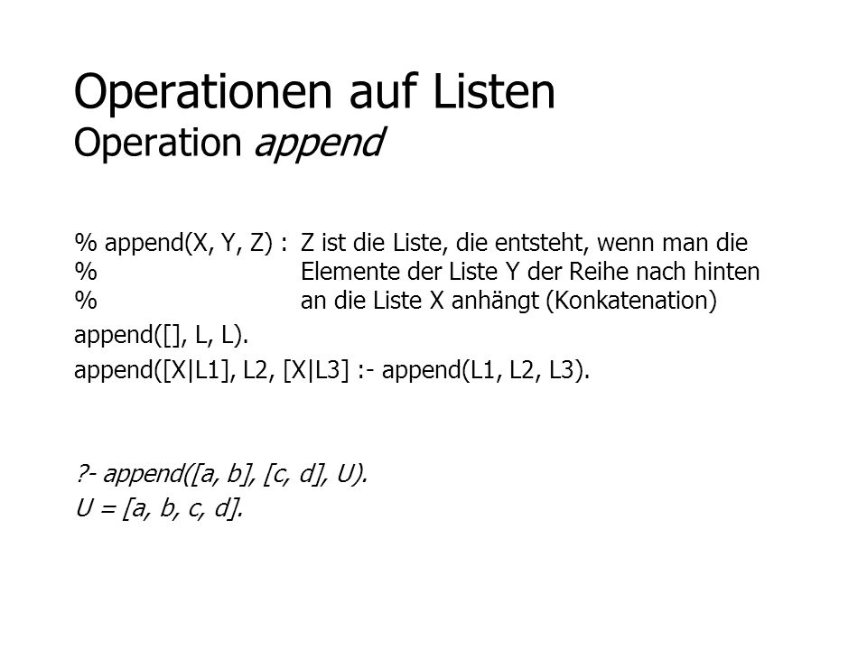 Operationen auf Listen Operation append