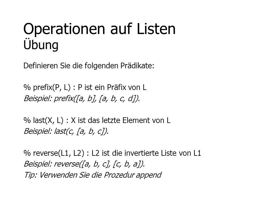 Operationen auf Listen Übung
