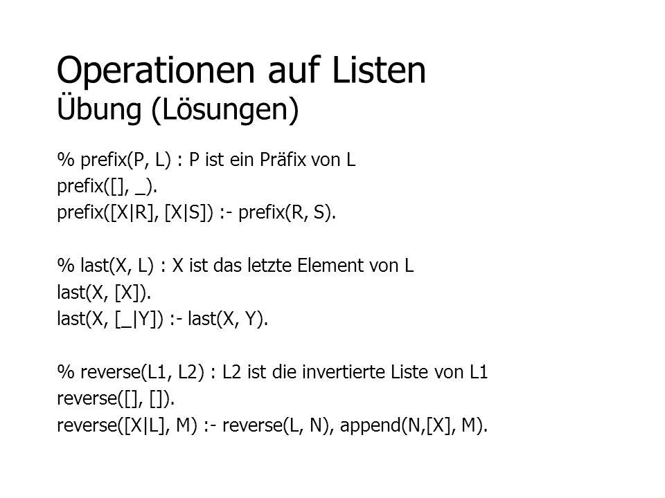 Operationen auf Listen Übung (Lösungen)