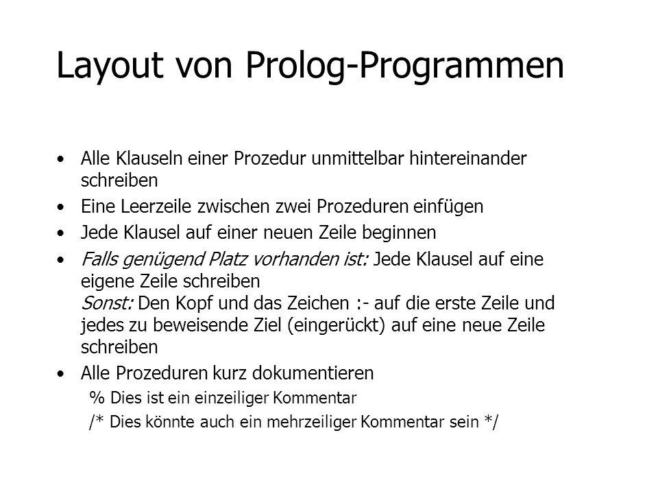 Layout von Prolog-Programmen