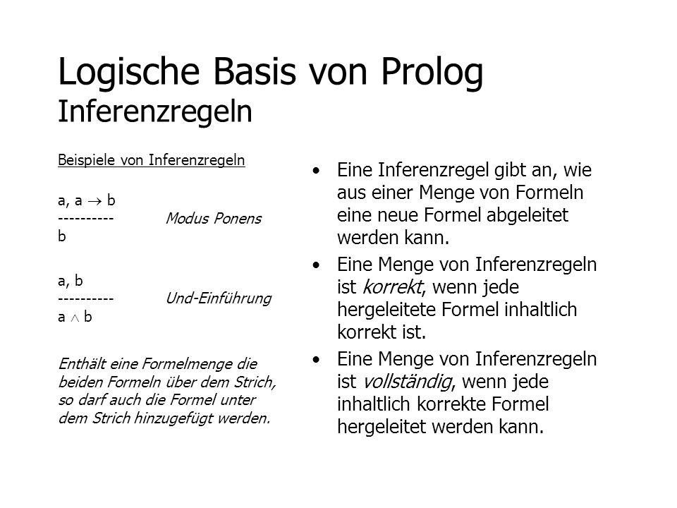 Logische Basis von Prolog Inferenzregeln