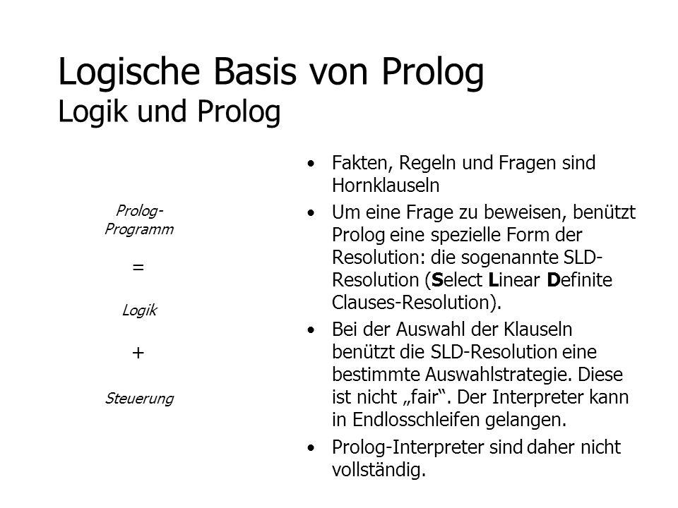 Logische Basis von Prolog Logik und Prolog