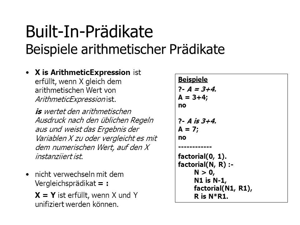 Built-In-Prädikate Beispiele arithmetischer Prädikate