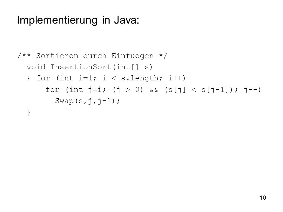 Implementierung in Java: