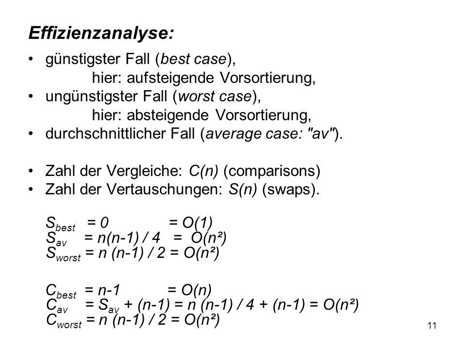 Effizienzanalyse: günstigster Fall (best case),
