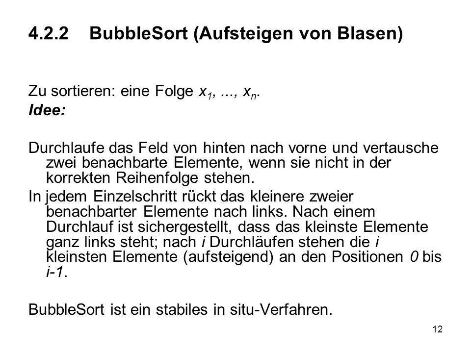 4.2.2 BubbleSort (Aufsteigen von Blasen)