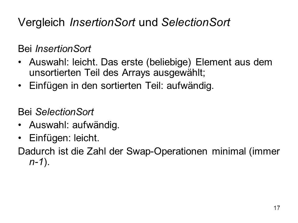 Vergleich InsertionSort und SelectionSort
