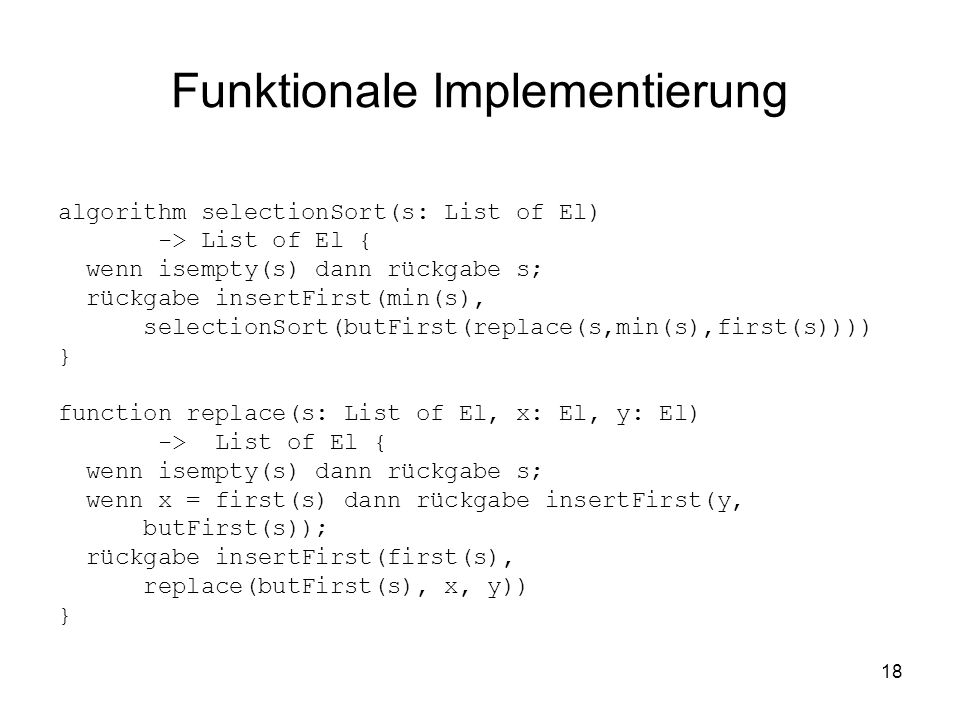 Funktionale Implementierung