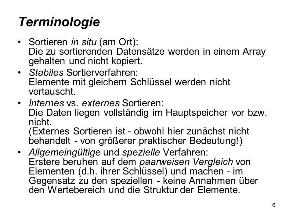 Terminologie Sortieren in situ (am Ort): Die zu sortierenden Datensätze werden in einem Array gehalten und nicht kopiert.