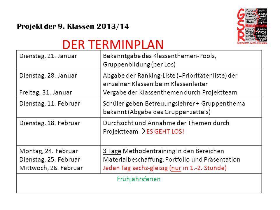 DER TERMINPLAN Projekt der 9. Klassen 2013/14 Dienstag, 21. Januar