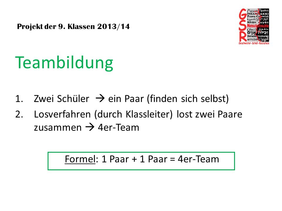 Formel: 1 Paar + 1 Paar = 4er-Team