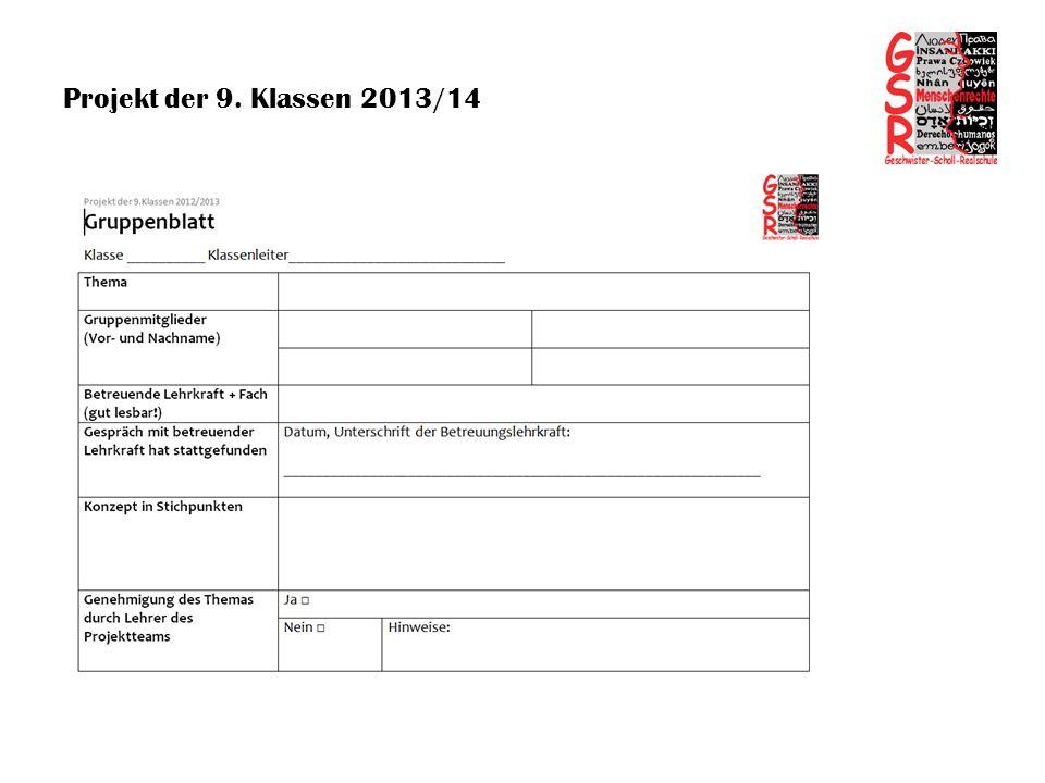 Projekt der 9. Klassen 2013/14