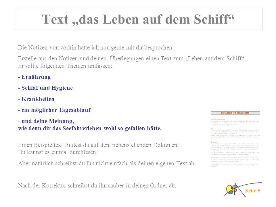 """Text """"das Leben auf dem Schiff"""