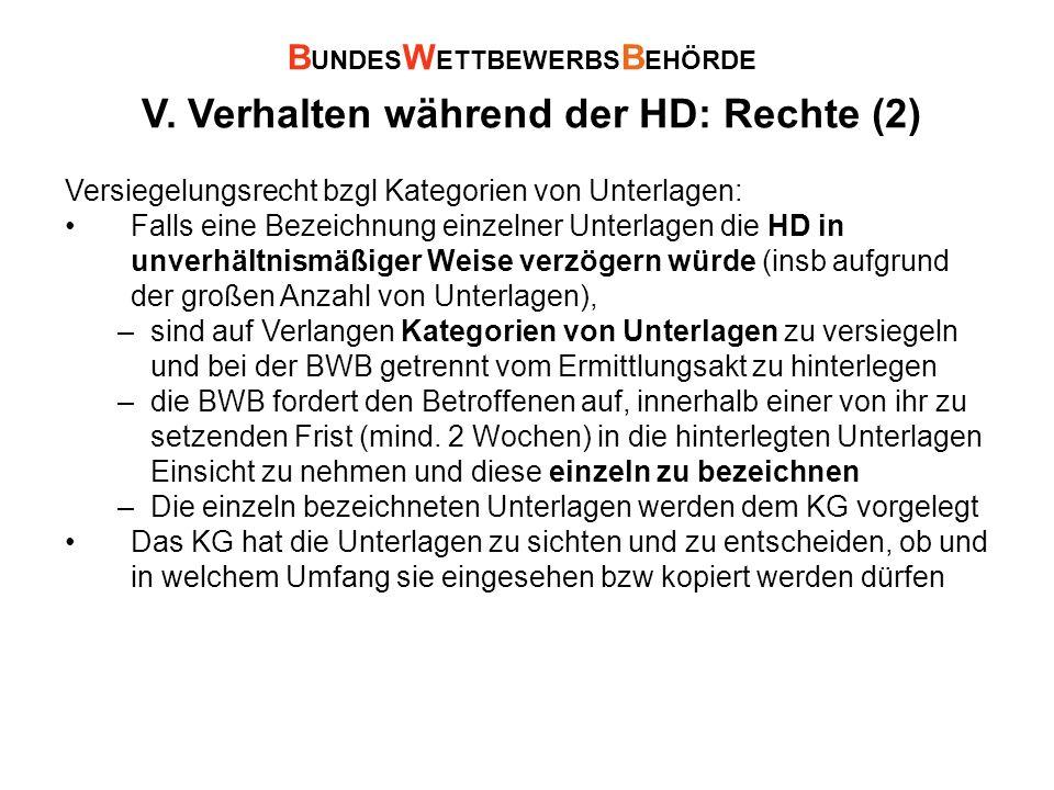V. Verhalten während der HD: Rechte (2)