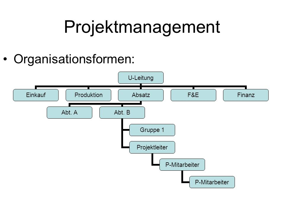 Projektmanagement Organisationsformen: