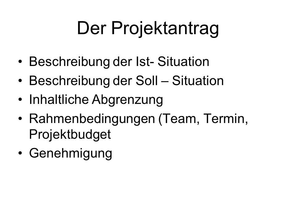 Der Projektantrag Beschreibung der Ist- Situation