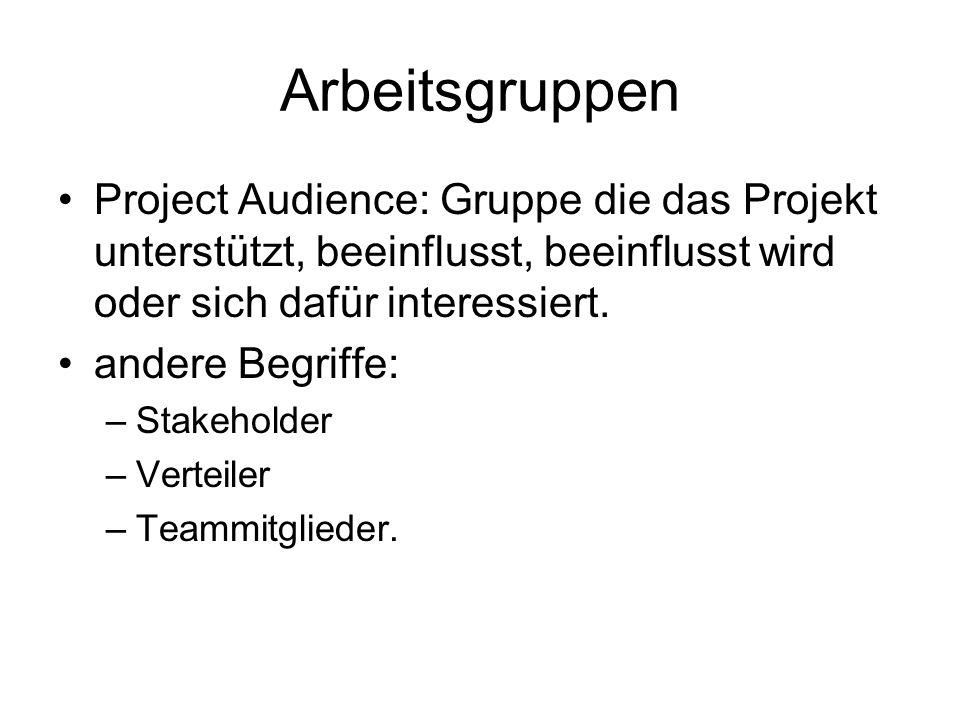 Arbeitsgruppen Project Audience: Gruppe die das Projekt unterstützt, beeinflusst, beeinflusst wird oder sich dafür interessiert.