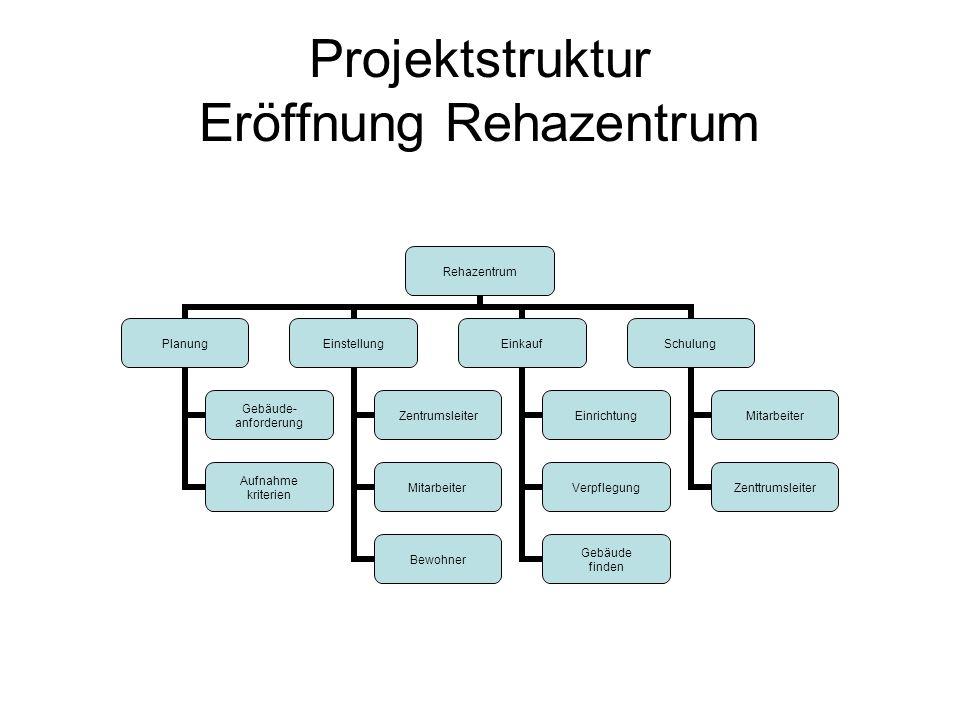 Projektstruktur Eröffnung Rehazentrum