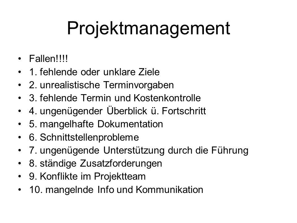 Projektmanagement Fallen!!!! 1. fehlende oder unklare Ziele