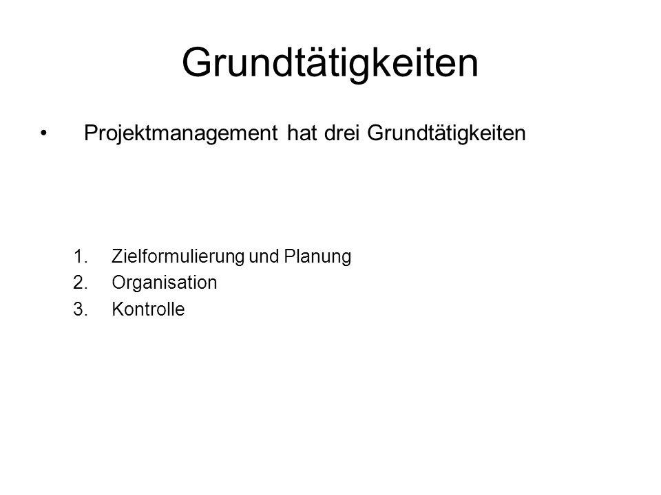 Grundtätigkeiten Projektmanagement hat drei Grundtätigkeiten
