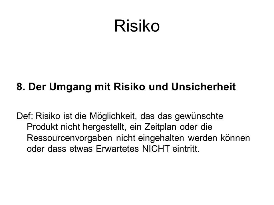 Risiko 8. Der Umgang mit Risiko und Unsicherheit