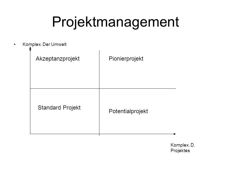 Projektmanagement Akzeptanzprojekt Pionierprojekt Standard Projekt