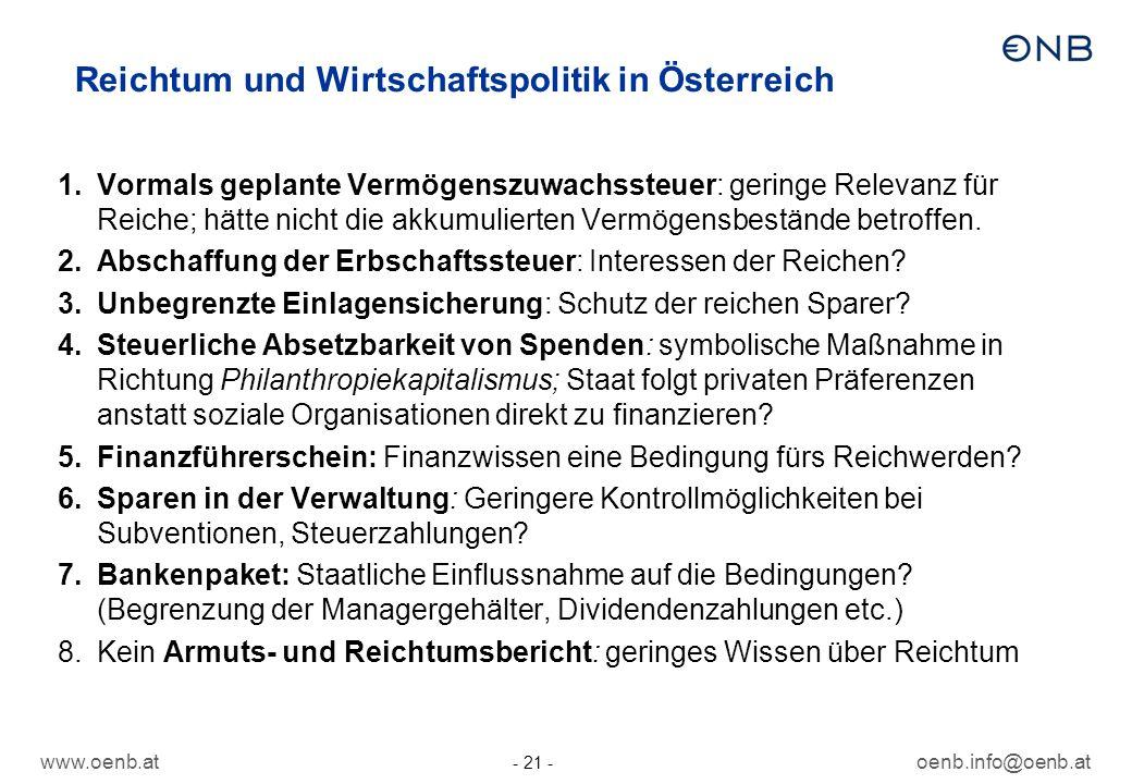 Reichtum und Wirtschaftspolitik in Österreich